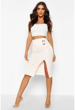 Nude Belted Split Tailored Skirt