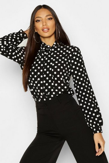 Womens Black Pussy Bow Polka Dot High Neck Blouse