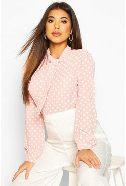 Pastel pink Pussy Bow Polka Dot High Neck Blouse