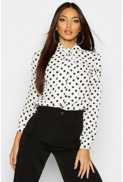 White Pussy Bow Polka Dot High Neck Blouse