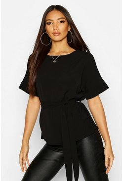 Womens Black Belted Woven Blouse