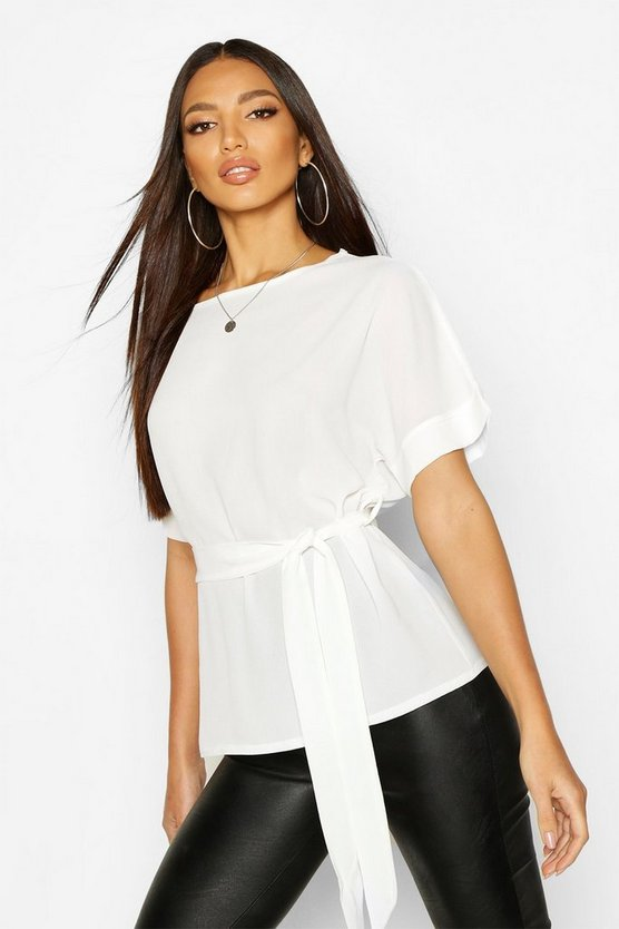 Ivory Belted Woven Blouse
