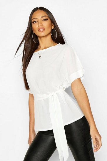Womens Ivory Belted Woven Blouse