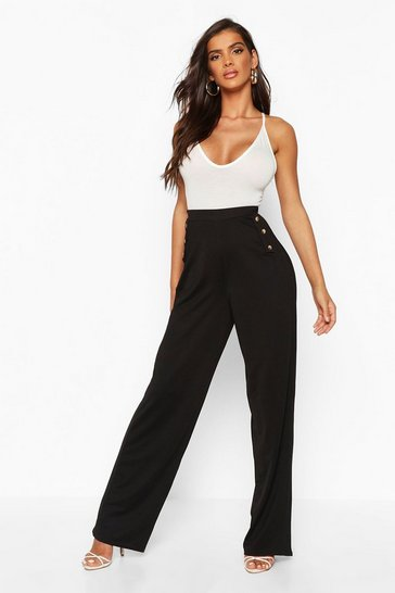 Womens Black Button Detail Tapered Trouser