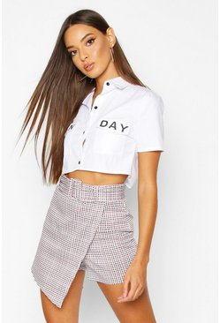 Womens Berry Wrap Front Belted Check Mini Skort