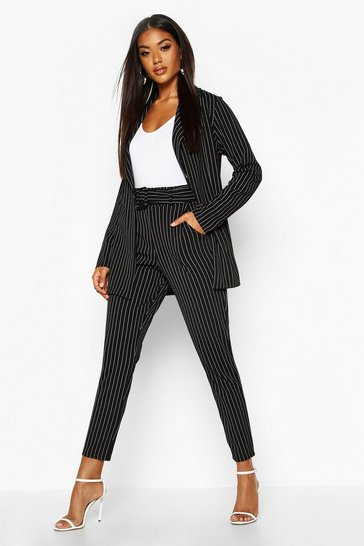 Womens Black Pinstripe Belted Tapered Trouser