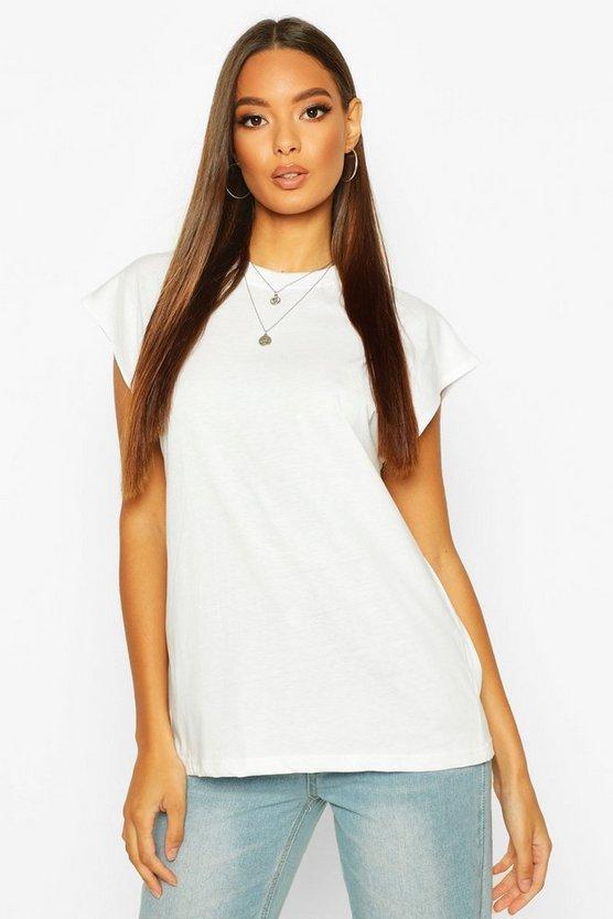 Cap Sleeve Rib Neck T-Shirt