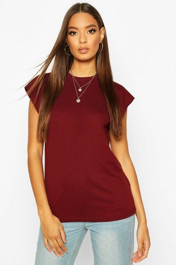 Womens Wine Cap Sleeve Rib Neck T-Shirt