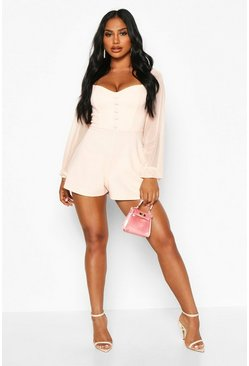 Womens Nude Off The Shoulder Mesh Button Playsuit