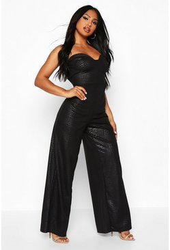 Womens Black Croc Effect Cupped Jumpsuit