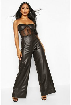 Black Leather Look & Mesh Corset Jumpsuit