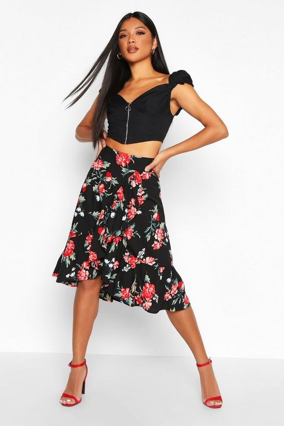 Wrap Front Large Floral Ruffle Midi Skirt