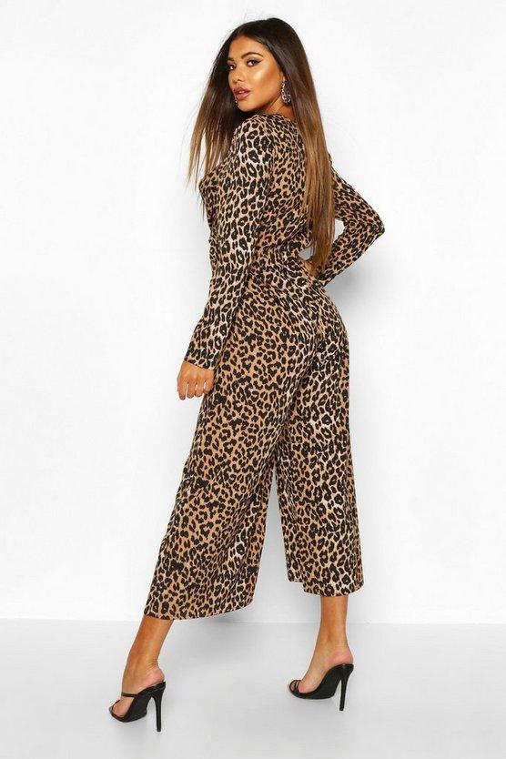 Leopard Knot Front Culotte Jumpsuit