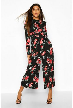 Red Large Floral Knot Front Culotted Jumpsuit