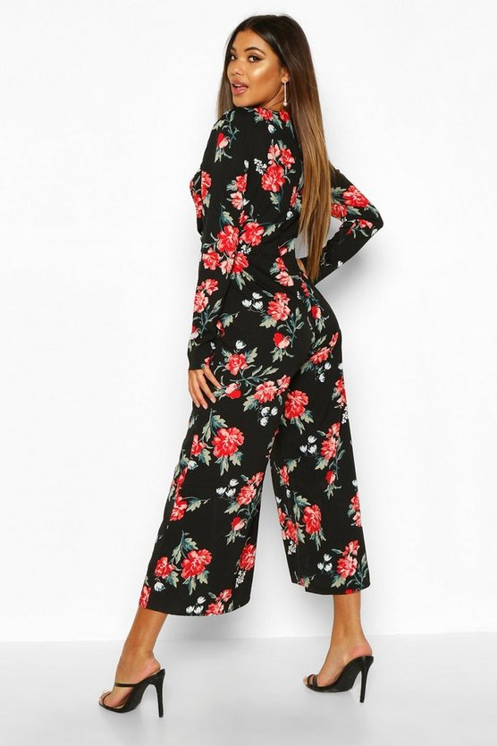 Large Floral Knot Front Culotted Jumpsuit