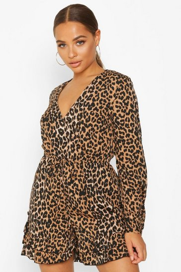 Womens Leopard Wrap Ruffle Playsuit