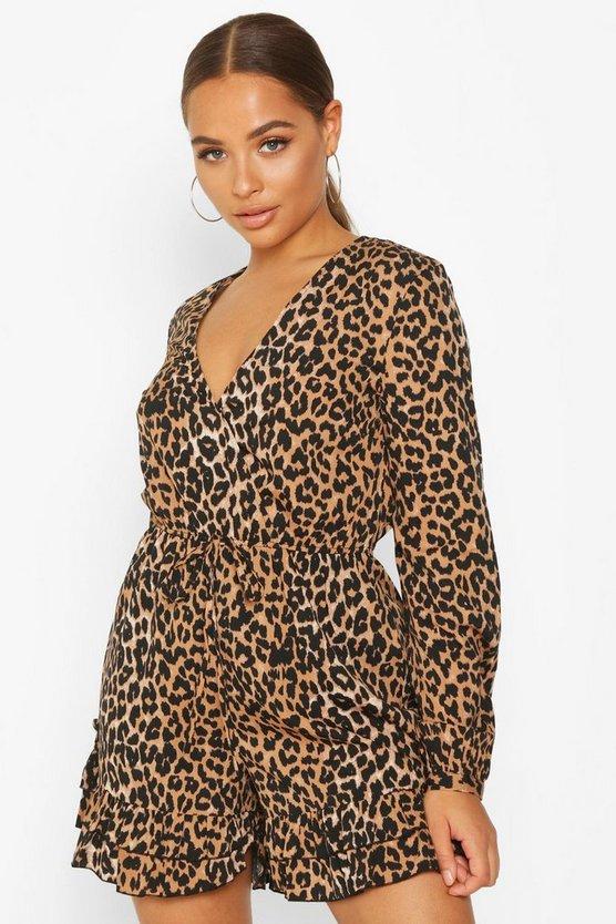 Leopard Wrap Ruffle Playsuit