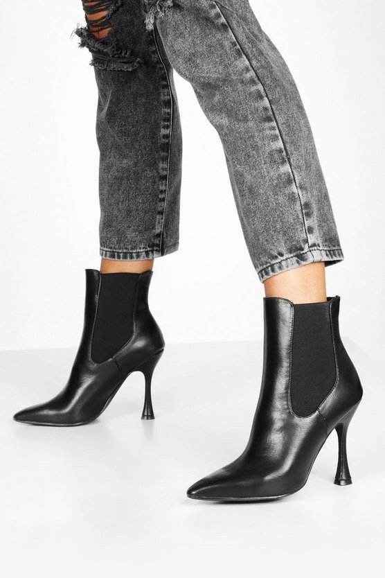 Black Interest Heel Pointed Toe Chelsea Boots