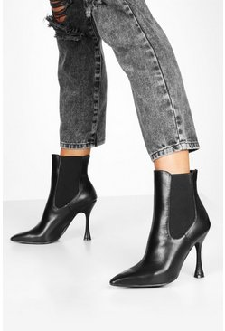 Womens Black Interest Heel Pointed Toe Chelsea Boots