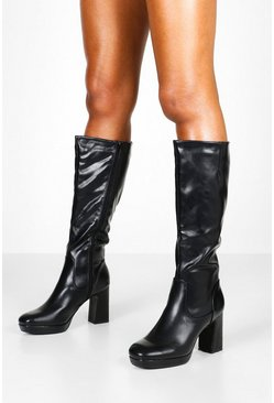 Black Block Heel Platform Knee High Boots