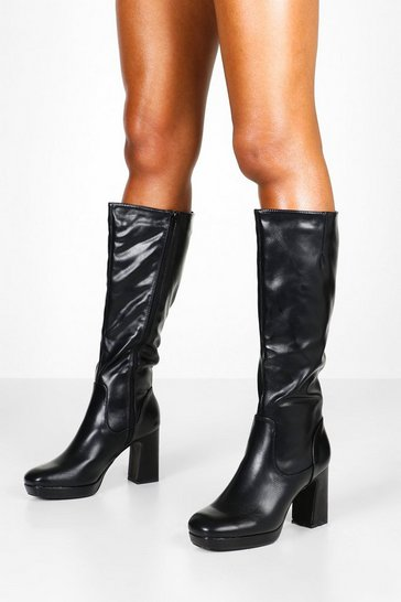 Womens Black Block Heel Platform Knee High Boots