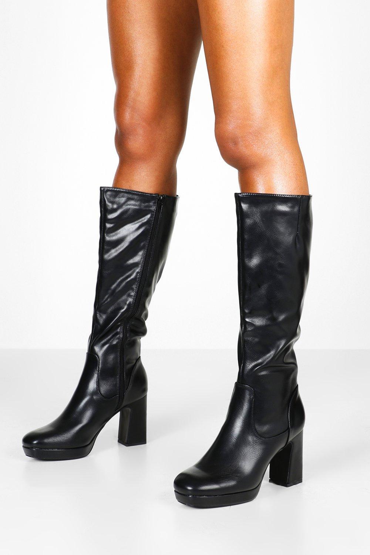 Stivali alti al ginocchio con plateau e tacco largo   boohoo