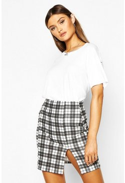 Womens Black Checked Split Front Mini Skirt