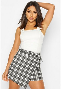 Womens Black Tonal Check Belted Skort