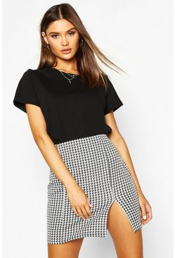 Black Large Dogtooth Front Split Mini Skirt