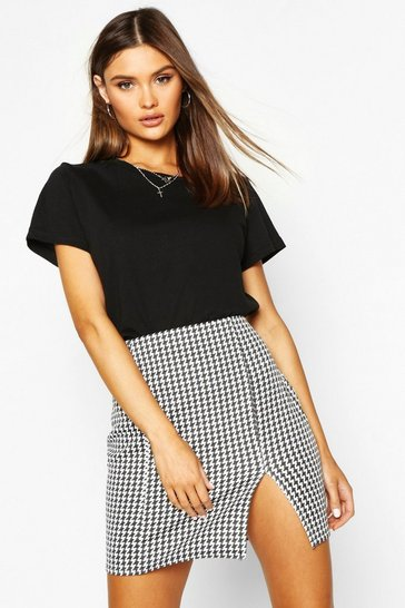 Womens Black Large Dogtooth Front Split Mini Skirt