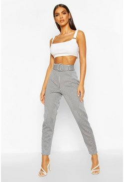 Womens Black Large Dogtooth Belted Stretch Skinny Trousers