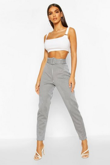 Black Large Dogtooth Belted Stretch Skinny Trousers