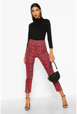 Womens Red Split Front Tartan Skinny Stretch Trousers