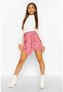Berry Oriental Wrap Front Mini Skirt