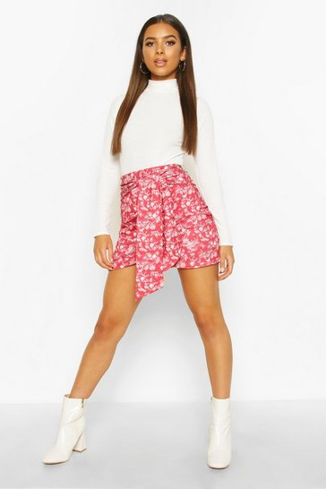 Womens Berry Oriental Wrap Front Mini Skirt