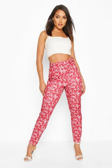 Womens Berry Oriental Print Belted Skinny Trouser
