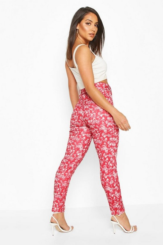 Oriental Print Belted Skinny Trouser