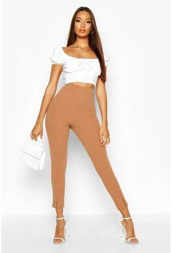 Camel Split Front Stretch Crepe Skinny Trousers