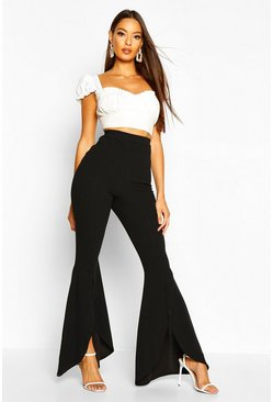 Black Curved Split Front Stretch Crepe Pants