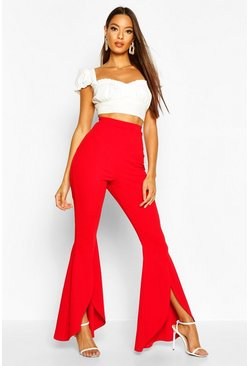 Pantalon en crêpe stretch fendu devant arrondi, Rouge, Femme