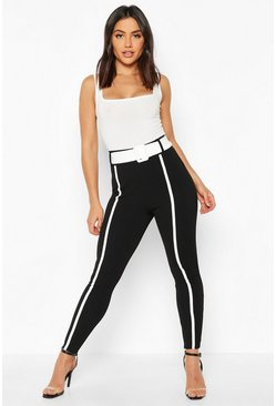 Black Contrast Piping Belted Skinny Stretch Trousers