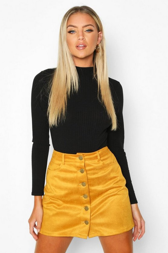 Suedette Button Front A Line Mini Skirt