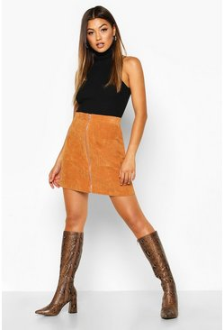 Tan Zip Through Pocket Front Cord Mini Skirt