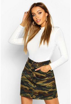 Womens Khaki Button Front Camo Cord A Line Skirt
