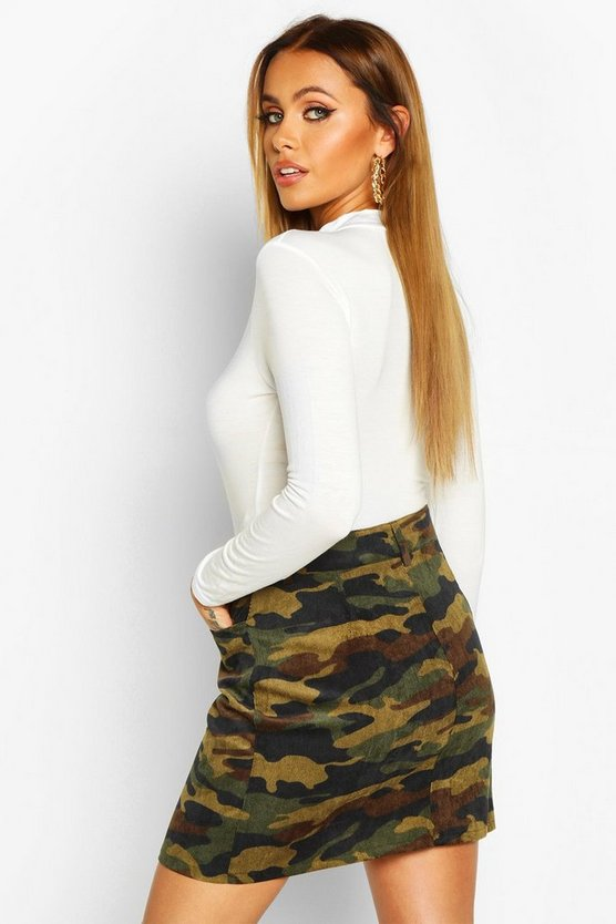 Button Front Camo Cord A Line Skirt