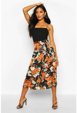Womens Black Autumnal Floral Wrap Front Midi Skirt