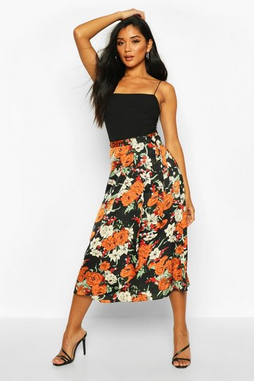 Black Autumnal Floral Wrap Front Midi Skirt