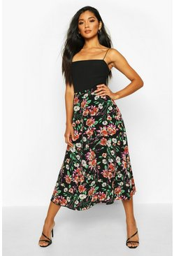 Womens Black Floral Midaxi Woven Skirt