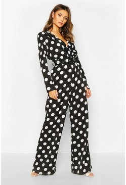 Womens Black Wide Leg Polka Dot Belted Jumpsuit
