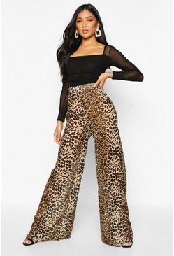 Womens Brown Leopard Print Chiffon Wide Leg Trouser